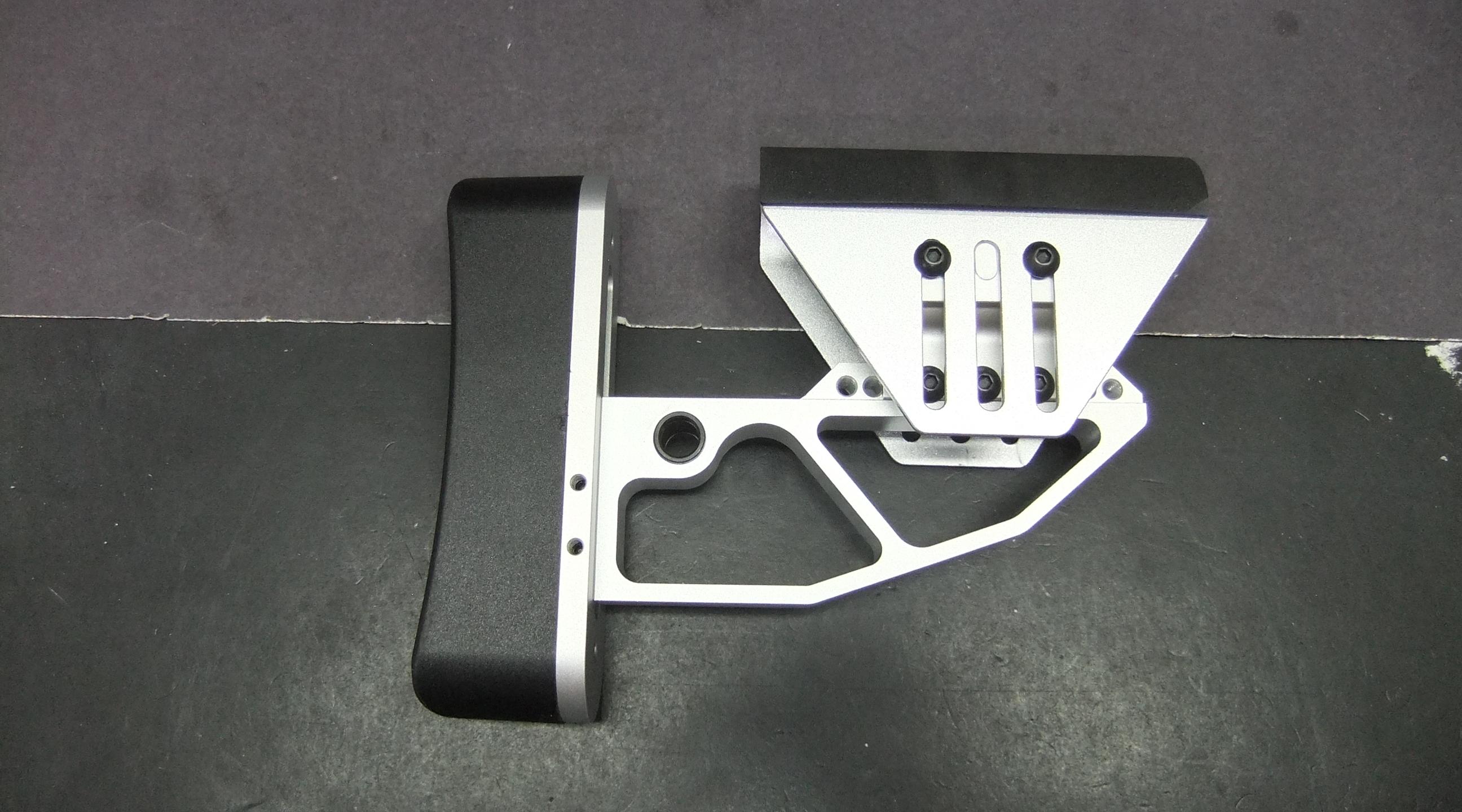 AR15 AR10 Tactical Silver Aluminum Skeleton Minimalist Adjustable Butt  Stock Cheek Rest Buttstock [BS]